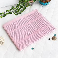 [Light Pink] 100% Cotton Thermal Cellular Throw Blanket (59.1 by 78.7 inches)