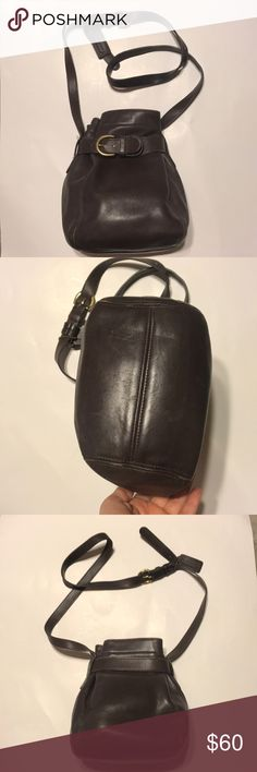 Vintage coach bucket bag Good condition leather cinched bucket bag. Magnetic belt closure, comes with hang tag. Adjustable crossbody strap. Serial No D7H-4156  Size 9x9x5 Coach Bags Crossbody Bags