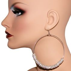 """3.25"""" Basketball Wives Poparazzi Inspired 8mm Rhinestone Rondells Hoop Earrings in Silver Tone with CRYSTAL finish"""