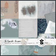 This pack contains 10 artsy papers (+3 bonus alternates). Some are heavily textured with gesso and mixed media, some are more subtle textured (water color paper, fabric or a vintage photo album page). These papers are part of the collection The Frozen Lake by Pixel Giraffe Design Vintage Photo Album, Vintage Photos, Giraffe, Mixed Media, Digital Art, Frozen, Artsy, Scrapbooking, Watercolor