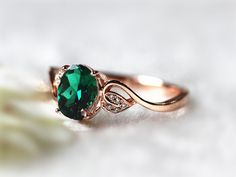 6x8mm Oval Emerald Ring Diamond Treated Emerald Wedding Ring Engagement Ring 14K Rose Gold Ring Promise Ring Gemstone Jewelry Anniversary by InOurStar on Etsy https://www.etsy.com/listing/218719900/6x8mm-oval-emerald-ring-diamond-treated