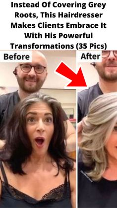 Instead Of #Covering Grey Roots, This #Hairdresser Makes Clients Embrace It With His #Powerful #Transformations (35 Pics) Amazing Grays, Just Amazing, Short Hair Cuts, Short Hair Styles, Pixie Cuts, Natural Eyes, Natural Facial, Makeup Transformation, Grey Hair