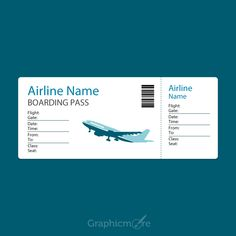 Airline Blue Boarding P Template Design Free Vector File
