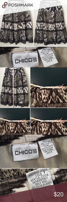 Skirt Modest Boho ikat Animal Tiered Artsy silk Bl Chico 2 Skirt Long Modest Boho ikat Animal Print Tiered silk blend Artsy Career.Chico's size 2,12,L Skirt Long Maxi Boho Silk Modest  Abstract animals print  Style: * flat front * elastic waist * fully lined * pull on style * below knee length * full tiered skirt * no slit Care instructions:  Machine wash Condition: Outstanding Fabric Content: * 65% cotton * 35% silk * brown/tan geometric print  No tear rip stain.  Smoke-pet free.  Check out…