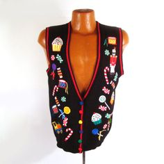 Ugly Christmas Sweater Vintage Cardigan by purevintageclothing Candy Holiday Party Tacky