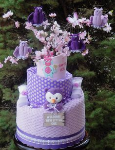 Owl Themed Diaper Cake www.facebook.com/DiaperCakesbyDiana
