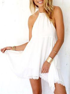White Halter Backless Lace Flounce Hem Mini Dress