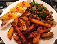 Clean Eating Post  16 pics  orange and chilli baked mackerel fillet with sweet potato fries and wild mushroom ragout