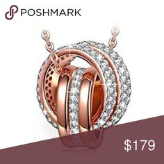 """Always with yo 935 Sterling Silver Necklace!! """"Always with You"""" 925 Sterling Silver Rose Gold Dangle Pendant Necklace AAA CZ Jewelry for Women   ap3700rose Jewelry Necklaces"""