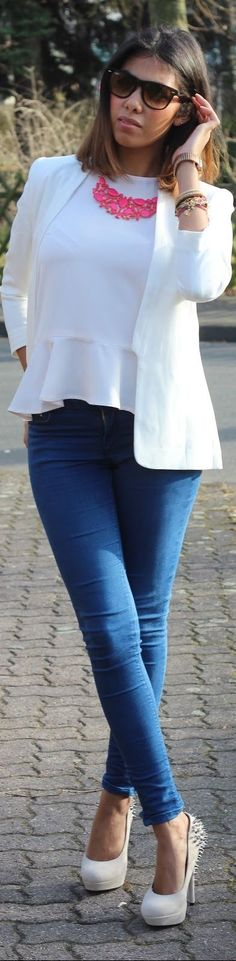 white on white peplum top, hot pink necklace, Camuto pumps .... in love with this outfit!