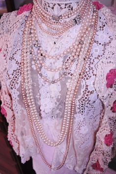 A match made in heaven...lace and pearls dress form. ~Love~