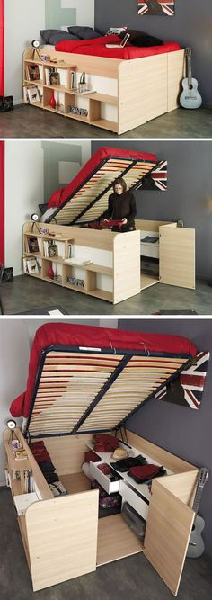 31 Small Space Ideas to Maximize Your Tiny Bedroom For those of people who live in small apartments, lofts or a compact house, keep the small bedrooms from clutter must be an everyday challenge. Fortunately, there are a lot of smart storage solutions help Small Space Storage, Smart Storage, Storage Spaces, Diy Storage Bed, Storage Organization, Diy Storage For Small Spaces, Hidden Storage, Bed Frame Storage, Underbed Storage Ideas