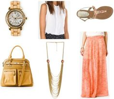 Style remix maxi skirt coral