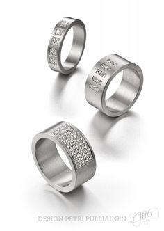 Stainless steel rings with diamonds. Design Petri Pulliainen/Aito Helsinki.