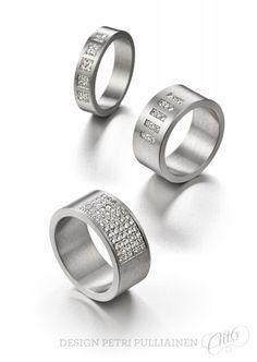 Stainless steel rings with diamonds. Design Petri Pulliainen/Aito Helsinki.