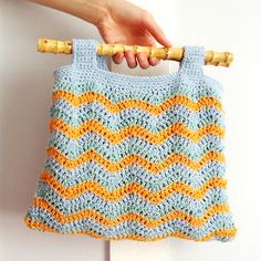 Stripe Chevron Crochet Bag with Bamboo Handles  £55.00