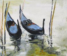 Peinture originale marine - Venise - huile au couteau : Solitude à deux .... : Peintures par les-reves-de-minsy