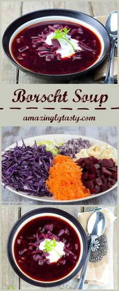 Borscht is delicious and healthy beet soup with incredible ruby color. This is vegetarian version. It is gluten free.