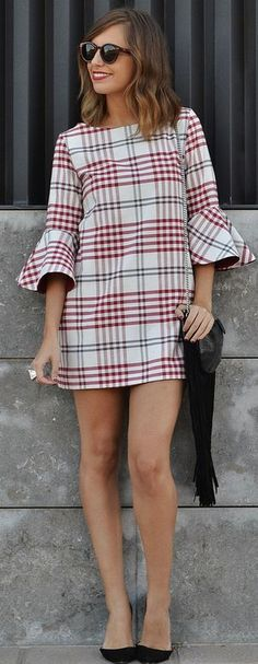 Shift dress outfit - Checkered Bell Sleeves Shift Dress Fall Streetstyle Inspo by Be Iconic women fashion outfit clothing stylish apparel closet ideas Trendy Dresses, Fall Dresses, Stylish Outfits, Fall Outfits, Casual Dresses, Short Dresses, Shift Dress Outfit, Dress Outfits, Fashion Outfits