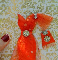CUSTOM ORDER for wrrywrt1 /Orange Dress Card / DL Size by BSylvar