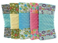 Bitsy Burpy premium burp cloths have been designed with your babys comfort in mind. With super absorbency, silky soft textures and attractive fabrics in vibrant colors, these Bitsy Burpy cloths can happily replace the tattered diaper draped over Mommys shoulder!! These special burp cloths are great shower gifts. Every new mother needs them. The front consists of 3 panels. The 2 side panels are 100% cotton designer fabric. The middle panel is high quality soft and silky minky dot chenille…