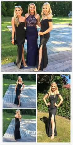 2019 Long Prom Dresses With Sleeves, Black Prom Dresses With Slit, Satin Prom Dresses Off The Shoulder, Chiffon Prom Dresses Sheath/Column Pretty Homecoming Dresses, Two Piece Homecoming Dress, Prom Dresses With Sleeves, Black Evening Dresses, Black Prom Dresses, Prom Dresses Online, Hoco Dresses, Prom Gowns, Party Dresses