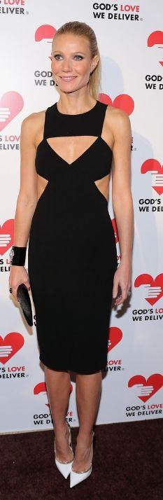 2712b23ffd1 Gwyneth Paltrow Wears Michael Kors Black Cut-Out Dress and Jimmy Choo Vero  Pumps