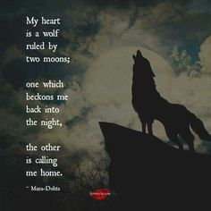""""""" How the moon calls her beast. Her animal spirit. She was like the lone wolf who lost her home and found a new one yet the wild called her spirit. I am that wolf with a spirit that will forever crave to soar! True Quotes, Great Quotes, Inspirational Quotes, Quotes Quotes, Motivational, Moon Quotes, Wolf Spirit, Spirit Animal, Phrase Cute"""