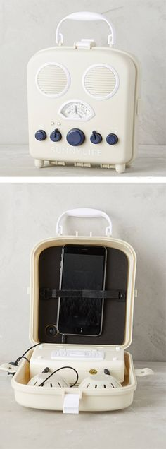 Beach Radio // Avoid getting your technology sandy, salty and sunblock-y. Tuck your player inside this water-resistant AM/FM speaker box. Tech Gadgets, Cool Gadgets, Nick Nacks, My Shopping List, My Attitude, Beach Stuff, Female Fashion, Mp3 Player, Awesome Stuff
