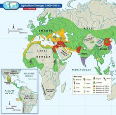 Map of the emergence of agriculture, between 5000 and 500 BCE.