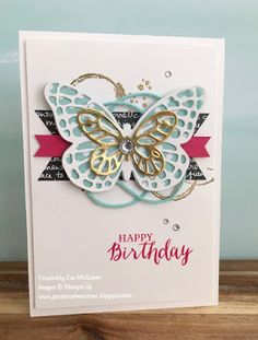 Birthday card featuring Stampin Up's Rose Wonder and Butterlies and Bold butterflies Framelits by Jan McQueen. More info @ www.janscreativecorner.blogspot.com