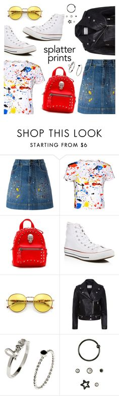 Splatter Prints by dressedbyrose on Polyvore featuring Alice + Olivia, Sandro, Converse, Philipp Plein, Wildfox, polyvoreeditorial and paintiton