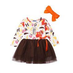 Yokidi Thanksgiving Suspender Skirt for Baby Toddler Girl Long Sleeve Ruffle Top Dot Turkey Suspender Dress Outfits Set