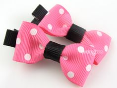 Baby Hair Clips  Hot Pink Black White Polka Dots by PoppyBows, $4.50