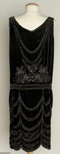 CRYSTAL BEADED FLAPPER DRESS, 1920s Black velvet, beaded swags w/ flowers, scalloped skirt. Back