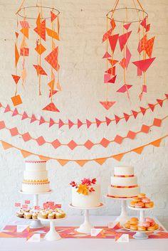 Bright, geometric dessert table