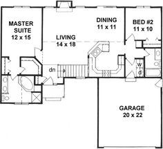 style house plans 1218 square foot home 1 story 2 bedroom and 2 bath 2 garage stalls by monster house plans plan 25 112 small houses pinterest - Simple House Plan With 2 Bedrooms And Garage