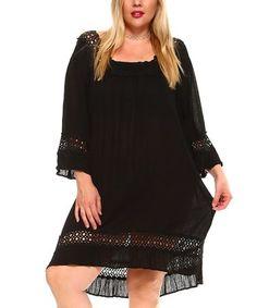 Look what I found on #zulily! Black Crochet-Accent Tunic Dress - Plus #zulilyfinds