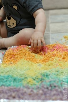 Rainbow Sensory Play  for babies, toddlers, and preschoolers {Safe to Eat}