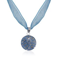 Blue Pressed Flower Circle Pendant Necklace - 12 step, AA & NA recovery gifts, jewelry, medallions, cards & coins – Choices Books & Gifts