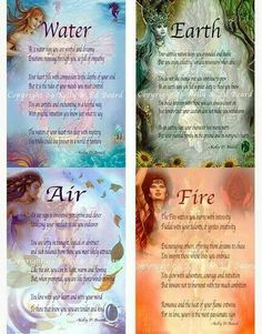 Set of 4 Elemental Fairy Zodiac Poem Prints Reiki, Wicca Witchcraft, Magick, Chakras, Magia Elemental, 4 Element, Magic Spells, Book Of Shadows, Numerology