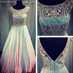 Unique Custom Ball Gown Long Scoop Backless Beaded Bodice Tulle Ombre Long Prom Dresses