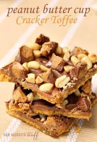 Six Sisters Peanut Butter Cup Cracker Toffee on MyRecipeMagic.com So Delicious!!