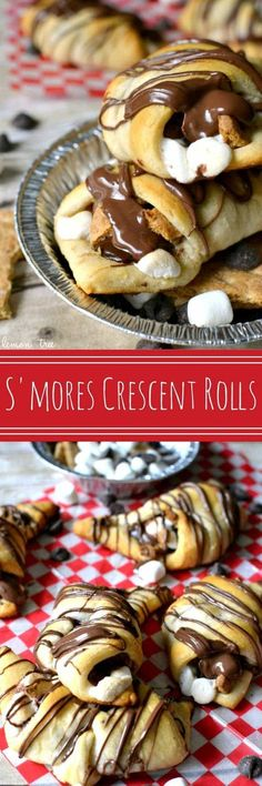 S'mores Crescent Rolls stuffed with chocolate chips, marshmallows, graham crackers and Nutella and topped with Nutella drizzle. Our favorite new way to enjoy s'mores! Change the crescent rolls to maybe pie crust and it's on. Easy Desserts, Delicious Desserts, Yummy Food, Tasty, Trifle Desserts, Baking Recipes, Cookie Recipes, Dishes Recipes, Recipes Dinner