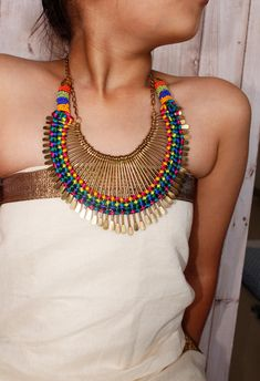 Beaded Necklace/ Chunky Necklace/ Beaded Jewelry/ by Magicstring, $29.00