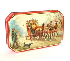 Vintage Horners Blue Boy Candy Tin Horse and Buggy Hunting Scene George W. Horner Made in England by HouseofLucien