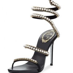 Rene Caovilla Pearly & Crystal Snake 105mm Sandal, Black  http://j.mp/2uMeR6n  #Black, #Crystal, #Pearly, #ReneCaovilla, #Sandal, #Snake