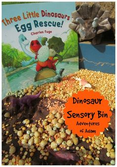 Give your child a special Dinosaur Delivery and create a sensory bin as part of Story Book Summer Dinosaur Week and the book Three Little Dinosaurs Egg Rescue.