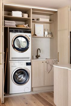 KITCHEN AND LAUNDRY REVEAL! #HOUSE12 — THREE BIRDS RENOVATIONS Laundry Room Layouts, Laundry Room Storage, Laundry In Bathroom, Laundry In Kitchen, European Laundry, Three Birds Renovations, Laundry Room Inspiration, Contemporary Cottage, Small Laundry