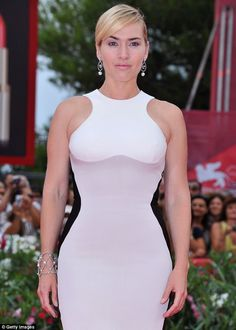 Looking stunning in Stella: Kate Winslet looked amazing in her optical illusion Stella McCatney dress at the premiere of Mildred Pierce in Italy earlier today